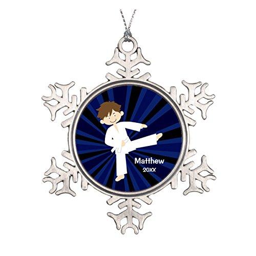 Daily Lady Taekwondo Karate weiß Gürtel Boy Personalisierte Runde Keramik Weihnachten Ornament
