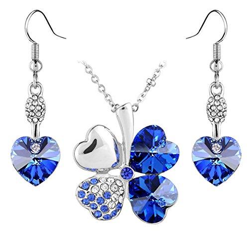Le Premium® - Parure placcata oro bianco collana trifoglio e orecchini cuore coordinati, con cristalli Swarovski Elements Zaffiro blu