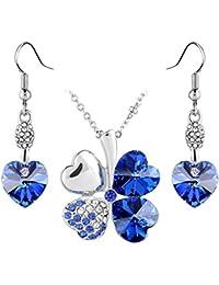 Bijoux Parures quatre feuilles collier pendentif+boucle en forme de coeur cristaux Swarovski bleu