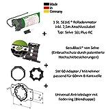 Selve® SEL-PLUS-RC 2/10 Funk-Rolladenmotor inkl. Einbruchschutz durch patentierte SecuBlock®, Motorlager, Anschlusskabel und SW 60 Adapter / Mitnehmer. (SEL Plus-RC 2/10 ohne SecuBlock)