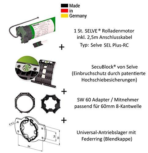 Selve® SEL-PLUS-RC 2/10 Funk-Rolladenmotor inkl. Einbruchschutz durch patentierte SecuBlock®, Motorlager, Anschlusskabel und SW 60 Adapter/Mitnehmer. (SEL Plus-RC 2/10 ohne SecuBlock)