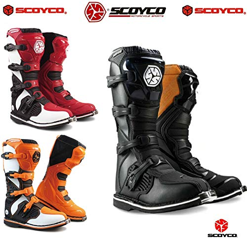 Stivali Motocross da Uomo SCOYCO MX Enduro off-Road Quad Cross ATV Scooter Crash Kart Racing Lunghi Stivale (Nero,44)