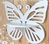 devil home weißer Schmetterling Geschnitzte Wandhalter Holz Wandregal Geschnitzte Hohle Shelf