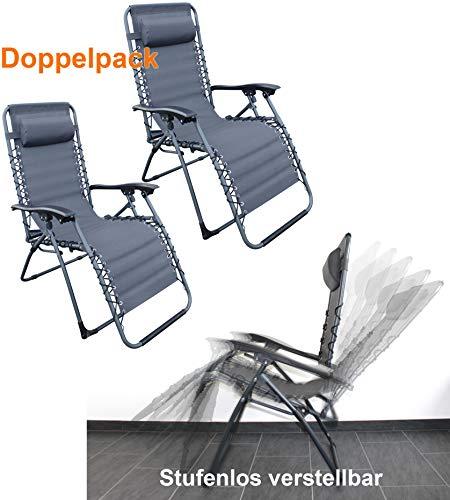 QM Basic 2 Stück Relax Liegestuhl mit abnehmbarem Kopfpolster, klappbar, Hochlehner, Garten, UV-beständig, grau ~cf868 +