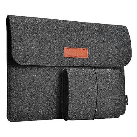 dodocool 12 Zoll Laptop Sleeve Hülle Tasche Tragetasche Filz mit Mini Beutel für 12 inch Apple MacBook Ultrabook Laptop dunkel grau