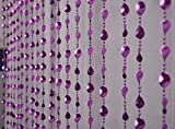 Pindia Strings Leaf Fancy Sparkling Plastic Bead Hanging Curtain - 7ft, Purple