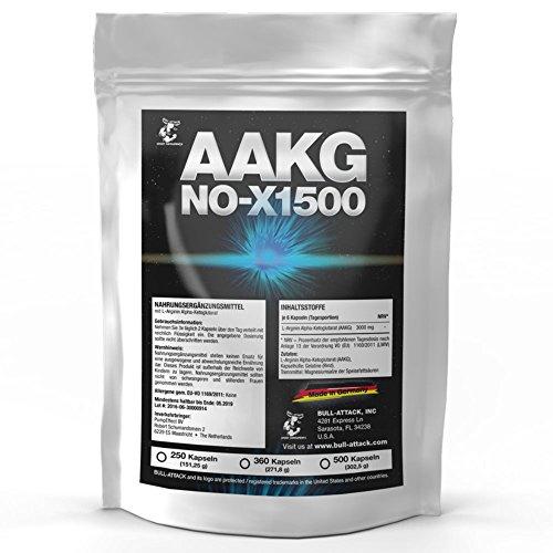 AAKG NOX-1500 | 360 Kapseln a 500mg | Vorratspackung | Reines A-AKG Arginin-Alpha-Ketoglutarat | Nitro + Pre-Workout Booster | Für den Muskelaufbau und