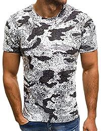 3f5511933 Waotier Camiseta De Manga Corta para Hombre Camiseta De Cuello Redondo Manga  Corta Camuflaje Estampado Ropa