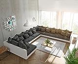 Couch Clovis XXL Weiss Schwarz Ottomane Rechts Wohnlandschaft