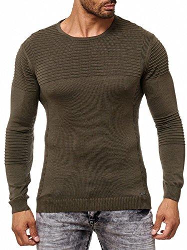 Herren Pullover Strick fein schlicht dezent weiß rot schwarz grün RN13305 Khaki