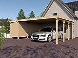 Carport Flachdach SILVERSTONE XVI 800x600 cm mit Geräteraum Flachdachcarport
