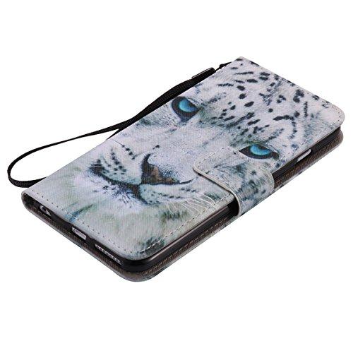 iPhone 6S Plus Ledertasche,iPhone 6 Plus Handyhülle,JAWSEU Leder Wallet Strap Brieftasche Handycover,Cool Weiß Leopard Muster Weich Tpu innere Lanyard Folio Hüllen Schutzhülle Schutz Cases Etui Lederh Weiß Leopard