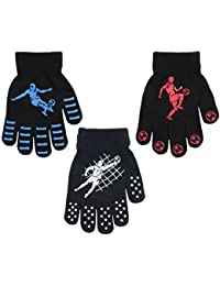3 Pairs Boys Gripper Magic Gloves Football Designs