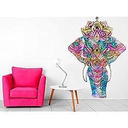 Vinilo Decorativo Pared Mandala Elefante | Varias Medidas 70x100cm | Multicolor | Pegatina Adhesiva Decorativa de Diseño Elegante
