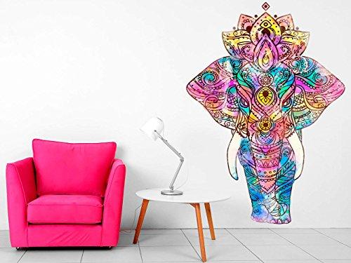 Vinilo Decorativo Pared Mandala Elefante | Varias Medidas 84x120cm | Multicolor | Pegatina Adhesiva Decorativa de Diseño Elegante