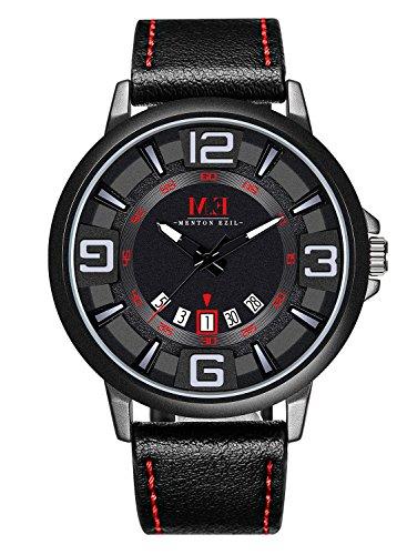 Menton Ezil Freizeit Armbanduhr Quarz Herren-Armbanduhr Automatisch-mechanische Uhr Lederarmband Datumsanzeige wasserdicht Leuchtende zeiger