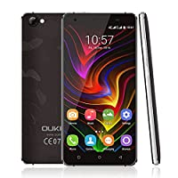 OUKITEL C5 Pro Android 6.0 Smartphone, Unlocked 5.0 Inch HD Display 4G Dual SIM Free Mobile Phones MTK6737 Quad Core 1.3GHz 2GB RAM 16GB ROM with Dual Camera (Black)
