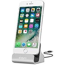 iPhone Base dock de carga,EVIISO Lightning Carga y Sincronización Dock para iPhone Cargador Dock Soporte con Cable de Conector Lightning para iPhone 7/7Plus, 6/6S/6, Plus/5/5 C/5S (Plata)