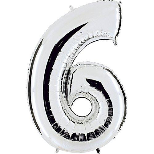 Ballon Zahl 6 in Silber - XXL Riesenzahl 100cm - für Geburtstag Jubiläum & Co - Party Geschenk Dekoration Folienballon Luftballon Happy Birthday
