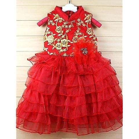 CBIN&HUA vestido de princesa vestido velo soplo chaleco rojo nueva llegada nuevo año falda traje de espiga niñas vestido de princesa tutu , 140