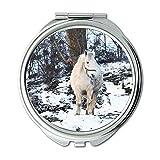 Yanteng Spiegel, Compact Spiegel, Tier Kaltes Pferd, Taschenspiegel, tragbarer Spiegel