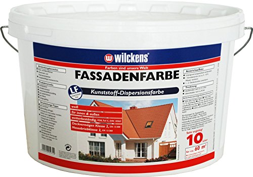 Fassadenfarbe inkl. 4x 5m Abdeckfolie (Fassadenfarbe weiss 10 Liter)