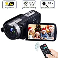 "Digital Camcorder with IR Night Vision, iBacakys Portable Mini Handheld Video Camera 24.0 Mega Pixels DV 3"" LCD Screen 18X Digital Zoom ((Two Batteries Included)"