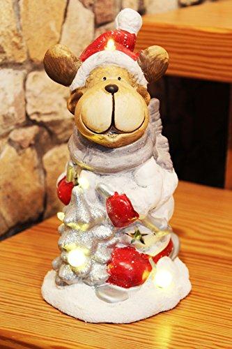 Winter Wohnungen (LED - FIGUR CHRISTMAS - FRIENDS , tolles LED - Licht für lange Winter - Advents - und Weihnachts - Abende, Hochwertig aus Keramik schön gefertigt - die perfekte Deko für Haus und Wohnung- Geschenk (RENTIER 24 cm))
