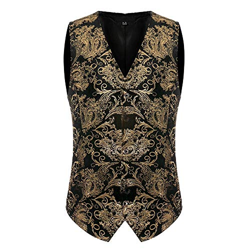 Sannysis Anzugweste Herren Fashion Vintage Business Breasted Weste V-Ausschnitt Weste Taille Slim Fit Hochzeit Feierlich Elegant Weste (Jungs Rock Star Kostüm)