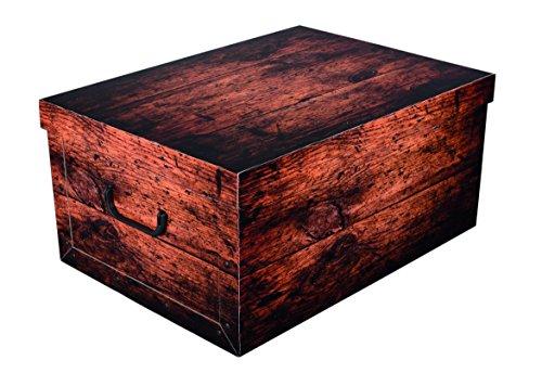 WOOD in schöner, dunkler Holzoptik - Tolles Motiv, passt in jeden Haushalt! Edel und hochwertig! Mit Griffen zum Tragen und XXL Volumen! (Große Kartons)