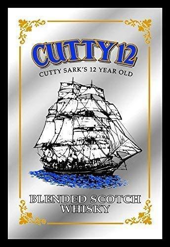Cutty Sark 12 Year old Blended Scotch Whisky Ship Nostalgie Barspiegel Spiegel Bar Mirror 22 x 32 cm -