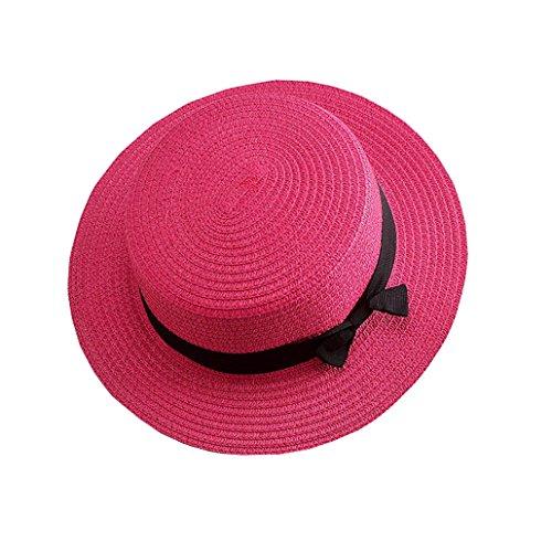 Evedaily Chapeau de Soleil Élégant Femme Casquette Visière Chapeau Fedora avec Nœud Papillon Rose rouge