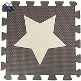 Tianmei 30x30cm Spiel-Matten für Kinder Weiche Puzzle Mats EVA-Schaum-Matten Bodenbelag Matten, 24 Optionen (24tlg, Beige und Kaffee-Sterne)