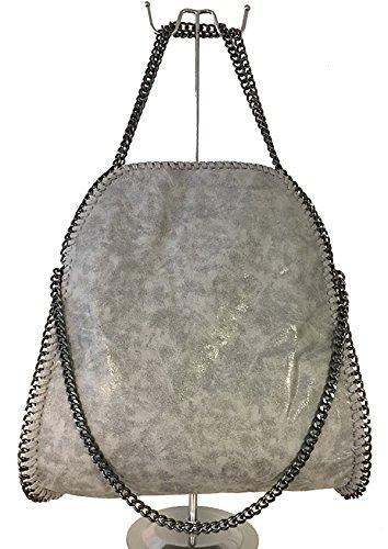 fashion&DU GLITZER Kette Hand Tasche Schultertasche Shopper Chain bag rot schwarz M2 größer Grau