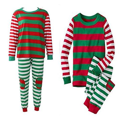 HLHN Weihnachten Familie Nachtwäsche Schlafanzug Pyjama Set (L, Mehrfarbig, Erwachsene)