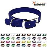 LENNIE BioThane Halsband, Dornschnalle, 25 mm breit, Größe 44-52 cm, Blau, Aufdruck möglich