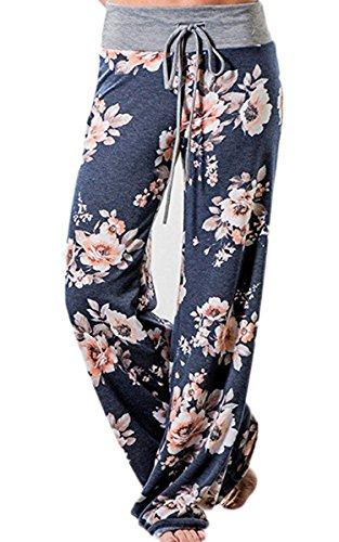Angashion Damen Blumenmuster Weite Bein Lange Hose, Blau1, EU 2XL(42)