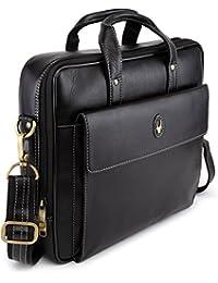 WildHorn Black 100% Genuine Leather 14.5 inch Laptop Messenger Bag DESCRIPTION – L-14.5 INCH W-2.5 INCH H-12.5 INCH