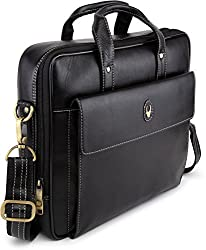 WildHorn Black 100% Genuine Leather 14 inch Laptop Messenger Bag