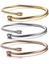 48502b156ec2 3 Pcs Pulseras Cable Acero Inoxidable Brazalete Hombre Mujer Ajustable 20cm  Oro Rosa Joyería de Moda Regalo para…