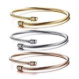 Cupimatch Damen Armreif Set Armband 3Pcs Armspange Edelstahl Armkette Frauen für Mädchen 20cm, Silber Gold Rosegold