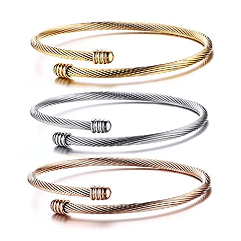 Cupimatch 3-Piece Stainless Steel Stackable Cable Wire Twisted Cuff Bangle Bracelets Set for Women, Gold/Rose /Silver