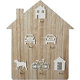 Schlüsselhaken Holzhaus Shaped Aufbewahrungsplatte Organizer 6 Peg Hanging Plaque