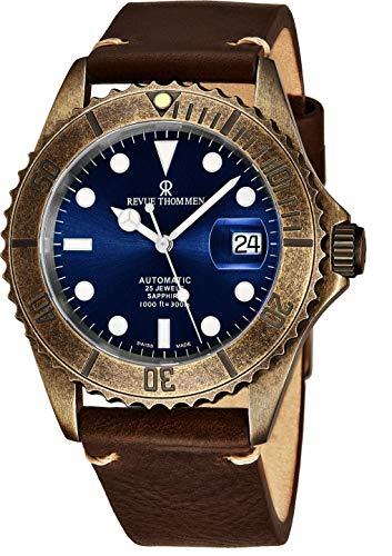 Revue Thommen Diver XL Homme 42mm Bracelet Cuir Automatique Montre 17571.2585
