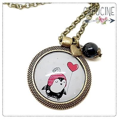 Sautoir pingouin bronze et cabochon verre - Long collier pingouin - Pingouin sous la Neige - idée cadeau de noël, cadeau de saint valentin, cadeau d'anniversaire, cadeau fête des mères