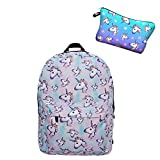 Leah's fashion - Zainetto per bambini multicolore con star astuccio unicorno