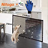 Nifogo Portatile Cani Barriera di Sicurezza, Magic Gate for Dog Estensibile Pet Safety Enclosure Net, Retrattile Animali Cancello Staccionate Auto Barriera, nero110 x 72 cm