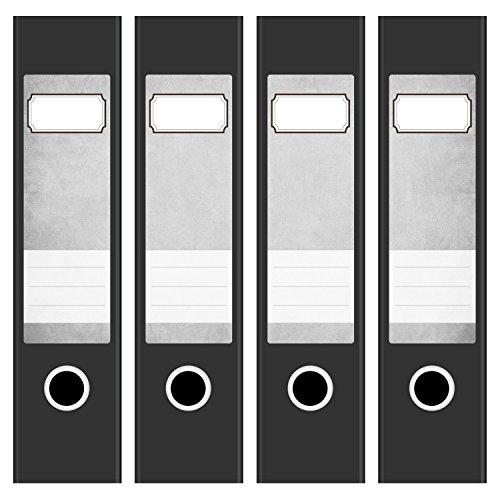 4 x Akten-Ordner Etiketten/Aufkleber/Rücken Sticker/mit Design Motiv Vintage grau/für breite Ordner/selbstklebend / 6cm breit