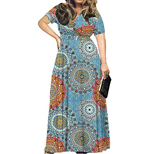 Pitashe Damen Kleider Sommer Strandkleid Sommerkleid Kurzarm V-Ausschnitt Elegant Partykleid Casual Lose Boho Lang Kleid Kleider Sommerkleider Maxikleider Blumenkleid Blumedrucken High Waist Plus Size