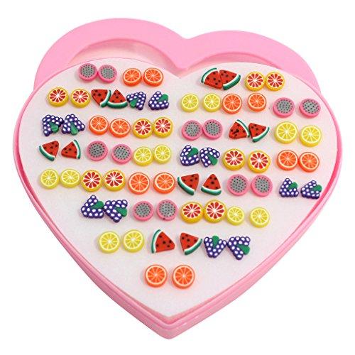 kurtzytm-36-pairs-stud-earrings-colourful-fruit-fimo-kids-children-lemon-grapes-melon